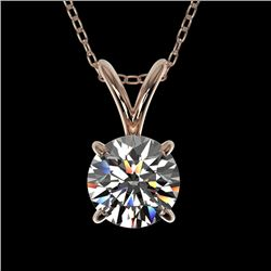 0.77 CTW Certified H-SI/I Quality Diamond Solitaire Necklace 10K Rose Gold - REF-97A5X - 36740