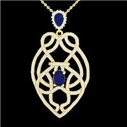 3.50 CTW Sapphire & Micro VS/SI Diamond Heart Necklace Solitaire 14K Yellow Gold - REF-180T2M - 2125