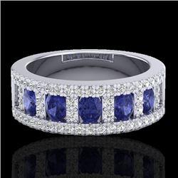 1.75 CTW Tanzanite & Micro Pave VS/SI Diamond Inspired Ring 10K White Gold - REF-64M4H - 20831