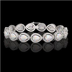 17.15 CTW Opal & Diamond Halo Bracelet 10K White Gold - REF-321Y6K - 41249