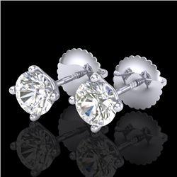 1.01 CTW VS/SI Diamond Solitaire Art Deco Stud Earrings 18K White Gold - REF-180T2M - 37298