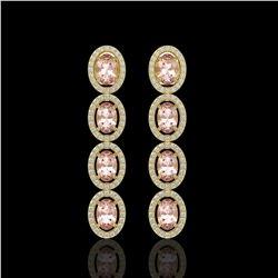 6.09 CTW Morganite & Diamond Halo Earrings 10K Yellow Gold - REF-130Y8K - 40516