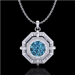 0.75 CTW Fancy Intense Blue Diamond Solitaire Art Deco Necklace 18K White Gold - REF-121N8Y - 37460