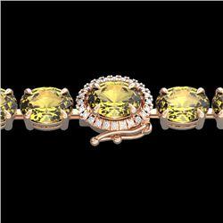 19.25 CTW Citrine & VS/SI Diamond Tennis Micro Pave Halo Bracelet 14K Rose Gold - REF-109H3A - 40225