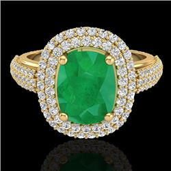 3.50 CTW Emerald & Micro Pave VS/SI Diamond Halo Ring 18K Yellow Gold - REF-143W6F - 20718