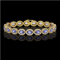 14.25 CTW Tanzanite & Diamond Halo Bracelet 10K Yellow Gold - REF-273M5H - 40462