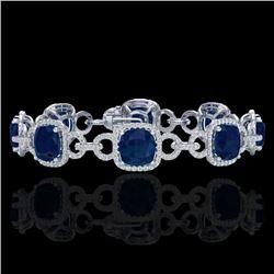 25 CTW Sapphire & Micro VS/SI Diamond Bracelet 14K White Gold - REF-418N2Y - 23030