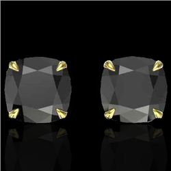 6 CTW Cushion Cut Black VS/SI Diamond Designer Stud Earrings 18K Yellow Gold - REF-141A8X - 21736
