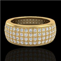 2.50 CTW Micro Pave VS/SI Diamond Eternity Ring 18K Yellow Gold - REF-249Y3K - 20884