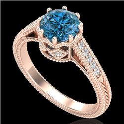 1.25 CTW Fancy Intense Blue Diamond Solitaire Art Deco Ring 18K Rose Gold - REF-195F5N - 37524