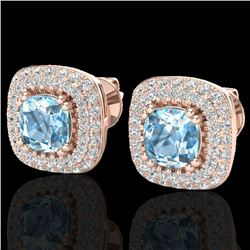 2.16 CTW Sky Blue Topaz & Micro VS/SI Diamond Earrings Halo 14K Rose Gold - REF-86X9T - 20335