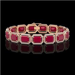 38.61 CTW Ruby & Diamond Halo Bracelet 10K Rose Gold - REF-424M5H - 41526