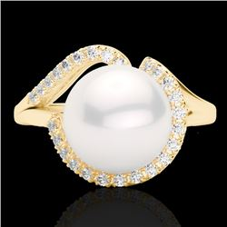 0.27 CTW VS/SI Diamond & White Pearl Designer Ring 18K Yellow Gold - REF-50N8Y - 22624
