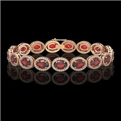 21.98 CTW Garnet & Diamond Halo Bracelet 10K Rose Gold - REF-247F6N - 40647