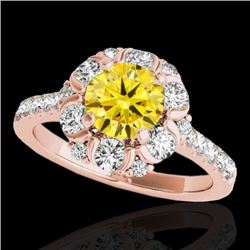 2.05 CTW Certified Si/I Fancy Intense Yellow Diamond Solitaire Halo Ring 10K Rose Gold - REF-245M5H