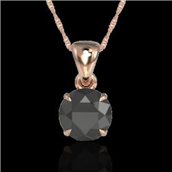 2 CTW Black VS/SI Diamond Inspired Solitaire Necklace 14K Rose Gold - REF-56F4N - 22014
