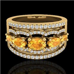 2.25 CTW Citrine & Micro Pave VS/SI Diamond Designer Ring 10K Yellow Gold - REF-71X8T - 20799