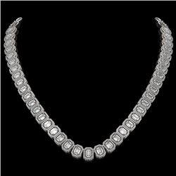 40.3 CTW Emerald Cut Diamond Designer Necklace 18K White Gold - REF-8402M2H - 42785
