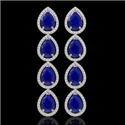 16.01 CTW Sapphire & Diamond Halo Earrings 10K White Gold - REF-186Y5K - 41288