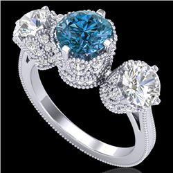 3.06 CTW Fancy Intense Blue Diamond Art Deco 3 Stone Ring 18K White Gold - REF-390Y9K - 37390