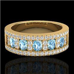 2 CTW Topaz & Micro Pave VS/SI Diamond Designer Inspired Band Ring 10K Yellow Gold - REF-60X4T - 208