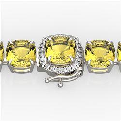 35 CTW Citrine & Micro VS/SI Diamond Halo Designer Bracelet 14K White Gold - REF-134K2W - 23302