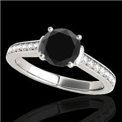1.5 CTW Certified VS Black Diamond Solitaire Ring 10K White Gold - REF-70F2N - 34928
