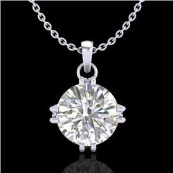 1 CTW VS/SI Diamond Solitaire Art Deco Stud Necklace 18K White Gold - REF-294A2X - 36914