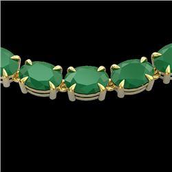 68 CTW Emerald Eternity Designer Inspired Tennis Necklace 14K Yellow Gold - REF-234T9M - 23402