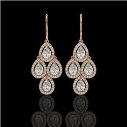 5.22 CTW Pear Diamond Designer Earrings 18K Rose Gold - REF-969K6W - 42774