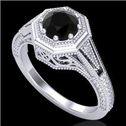 0.84 CTW Fancy Black Diamond Solitaire Engagement Art Deco Ring 18K White Gold - REF-89X3T - 37926
