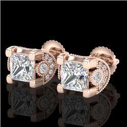 2.5 CTW Princess VS/SI Diamond Art Deco Stud Earrings 18K Rose Gold - REF-642M2H - 37152