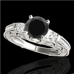 1.38 CTW Certified VS Black Diamond Solitaire Antique Ring 10K White Gold - REF-63T6M - 34642