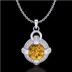 1.57 CTW Intense Fancy Yellow Diamond Micro Pave Stud Necklace 18K White Gold - REF-147H3A - 37637