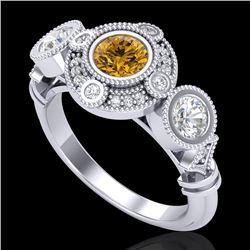 1.51 CTW Intense Fancy Yellow Diamond Art Deco 3 Stone Ring 18K White Gold - REF-218K2W - 37714