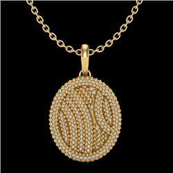 1 CTW Micro Pave VS/SI Diamond Necklace 14K Yellow Gold - REF-90M9H - 20510