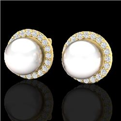 0.50 CTW Micro Pave Halo VS/SI Diamond & Pearl Earrings 18K Yellow Gold - REF-61X5T - 21507