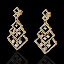 3 CTW Micro Pave VS/SI Diamond Earrings Dangling Designer 14K Yellow Gold - REF-267A6X - 22490