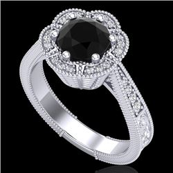 1.33 CTW Fancy Black Diamond Solitaire Engagement Art Deco Ring 18K White Gold - REF-89A3X - 37954