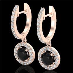 1.75 CTW Micro Pave Halo VS/SI Diamond Earrings 14K Rose Gold - REF-89M3H - 23252