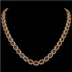 32.82 CTW Garnet & Diamond Halo Necklace 10K Yellow Gold - REF-501X3T - 40447