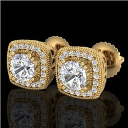 1.25 CTW Cushion Cut VS/SI Diamond Art Deco Stud Earrings 18K Yellow Gold - REF-218F2N - 37036