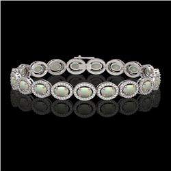 9.5 CTW Opal & Diamond Halo Bracelet 10K White Gold - REF-251T8M - 40466