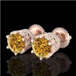 2.04 CTW Intense Fancy Yellow Diamond Art Deco Stud Earrings 18K Rose Gold - REF-209M3H - 38100