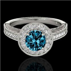 1.5 CTW Si Certified Fancy Blue Diamond Solitaire Halo Ring 10K White Gold - REF-200A2X - 33747