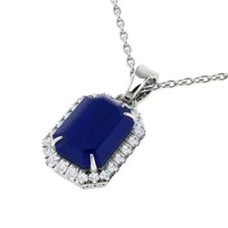 5.50 CTW Sapphire & Micro Pave VS/SI Diamond Halo Necklace 18K White Gold - REF-70A2X - 21367
