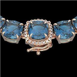 87 CTW London Blue Topaz & VS/SI Diamond Halo Micro Necklace 14K Rose Gold - REF-317Y6K - 23368
