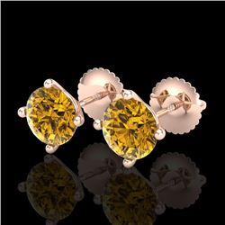 2 CTW Intense Fancy Yellow Diamond Art Deco Stud Earrings 18K Rose Gold - REF-272A8X - 38247