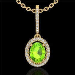 2 CTW Peridot & Micro Pave VS/SI Diamond Necklace Solitaire Halo 18K Yellow Gold - REF-61Y8K - 20666