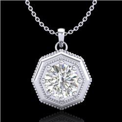 0.75 CTW VS/SI Diamond Solitaire Art Deco Stud Necklace 18K White Gold - REF-180W2F - 37097